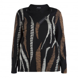 BEIGE LABEL ABSTRACT PRINT TOP BLACK - Plus Size Collection