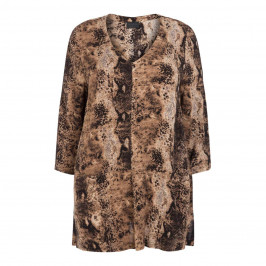 Q'NEEL V-NECK PYTHON PRINT TUNIC - Plus Size Collection