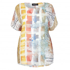 BEIGE LABEL ABSTRACT PRINT CREPE TOP  - Plus Size Collection
