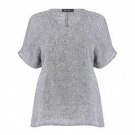 BEIGE crushed linen TOP in grey - Plus Size Collection