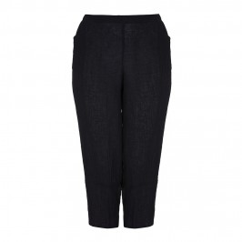 BEIGE crushed linen cropped TROUSERS in black - Plus Size Collection