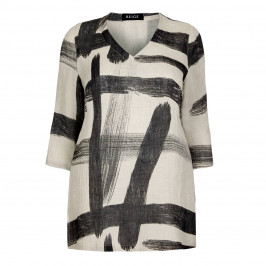 BEIGE LABEL PAINTSTROKE PRINT LINEN TUNIC - Plus Size Collection