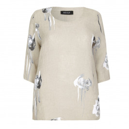 BEIGE LABEL FLORAL MOTIF LINEN TUNIC - Plus Size Collection