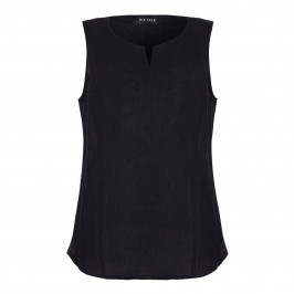 BEIGE LABEL BLACK CHEESCLOTH LINEN VEST  - Plus Size Collection