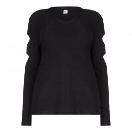 QUE black cold shoulder SWEATER - Plus Size Collection