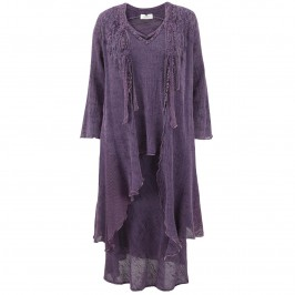 Ann Balon aubergine 3 piece set - jacket, camisole and skirt - Plus Size Collection