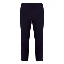 BEIGE PEARL HEM TROUSERS NAVY - Plus Size Collection