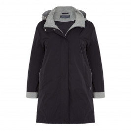 ROF AMO NAVY RAINCOAT WITH MARL GREY LINING - Plus Size Collection