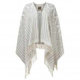 ROF AMO GREY TONES FRINGED CAPE - Plus Size Collection