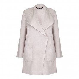 Rof Amo ECRU WOOL BLEND COAT - Plus Size Collection