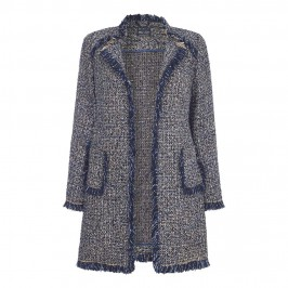 ROF AMO BLUE TWEED LONG JACKET WITH FRAYED HEM - Plus Size Collection