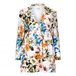 Rof Amo LONG white floral print JACKET - Plus Size Collection