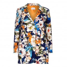 Rof Amo LONG navy floral print JACKET - Plus Size Collection