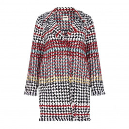 ROF AMO LONG HOUNDSTOOTH TWEED JACKET WITH STRIPE DETAIL - Plus Size Collection