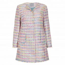 ROF AMO MULTICOLOUR TWEED JACKET WITH FRINGE DETAIL - Plus Size Collection