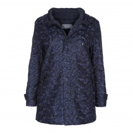 ROFA AMO NAVY BRODERIE ANGLAISE RAINCOAT  - Plus Size Collection