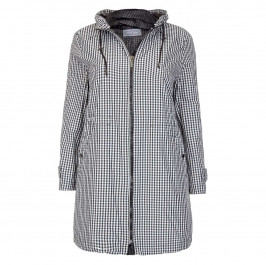 ROF AMO BLACK AND WHITE ZIP FRONT RAINCOAT  - Plus Size Collection