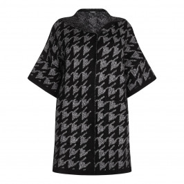ELENA MIRO houndstooth PONCHO with hood - Plus Size Collection