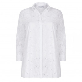 MARINA RINALDI COTTON BRODERIE ANGLAIS SHIRT WHITE - Plus Size Collection