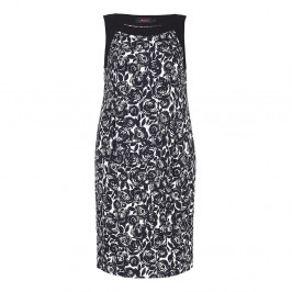 Sallie Sahne monochrome Rose Print DRESS - Plus Size Collection