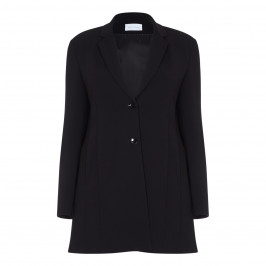SALLIE SAHNE LONGLINE BLACK JACKET SINGLE BREASTED REVERE COLLAR - Plus Size Collection