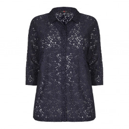 Sallie Sahne navy lace SHIRT - Plus Size Collection