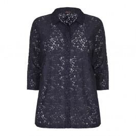 Sallie Sahne navy lace SHIRT - Plus Size Collection
