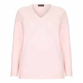 Sandra Portelli pink cashmere v-neck SWEATER - Plus Size Collection