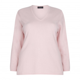 Sandra Portelli 100% cashmere pink  v-neck SWEATER - Plus Size Collection