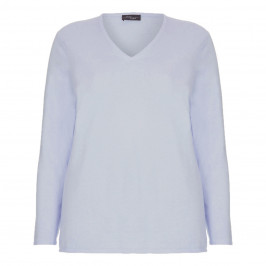Sandra Portelli 100% cashmere blue v-neck SWEATER - Plus Size Collection