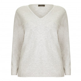 Sandra Portelli dove grey cashmere v-neck SWEATER - Plus Size Collection