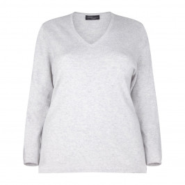 Sandra Portelli 100% cashmere dove grey v-neck SWEATER - Plus Size Collection