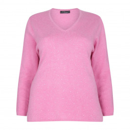 SANDRA PORTELLI EMBELLISHED PINK CASHMERE SWEATER - Plus Size Collection