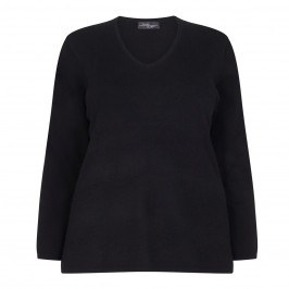 SANDRA PORTELLI BLACK V-NECK CASHMERE SWEATER - Plus Size Collection