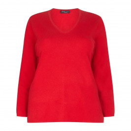 SANDRA PORTELLI RED V-NECK CASHMERE SWEATER - Plus Size Collection