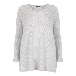 SANDRA PORTELLI RIBBED PURE CASHMERE SWEATER PEARL GREY - Plus Size Collection