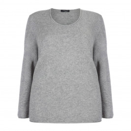 SANDRA PORTELLI GREY CASHMERE ROUND NECK SWEATER - Plus Size Collection