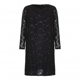 SELECT Black Sequined Lace DRESS AND COAT ENSEMBLE - Plus Size Collection
