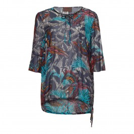 SEMPRE PIU tropical print navy KAFTAN - Plus Size Collection