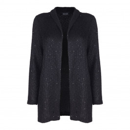 BEIGE LABEL BLACK SEQUINNED LONG CARDIGAN - Plus Size Collection