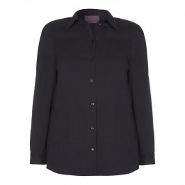 SEMPRE PIU BLACK COTTON STRETCH SHIRT - Plus Size Collection
