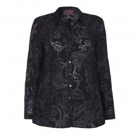SEMPRE PIU PAISLEY DEVORÉ SHIRT WITH SILVER DETAILS - Plus Size Collection