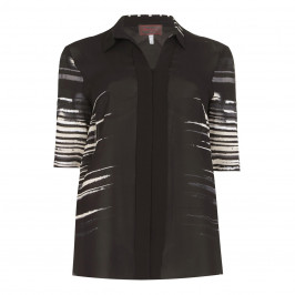 SEMPRE PIU black abstract stripe SHIRT - Plus Size Collection