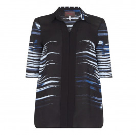 SEMPRE PIU navy abstract stripe SHIRT - Plus Size Collection