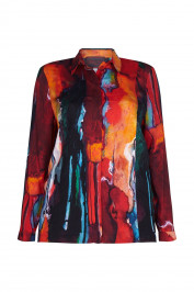 SEMPRE PIU RED LARGE PAINTERLY PRINT SHIRT - Plus Size Collection