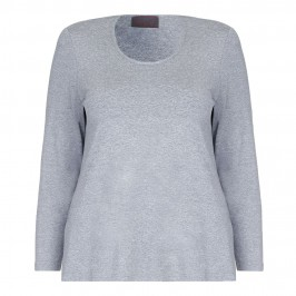 SEMPRE PIU GREY MELANGE JERSEY TOP - Plus Size Collection