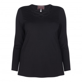 SEMPRE PIU BLACK TOP WITH CRISS CROSS NECK DETAIL - Plus Size Collection