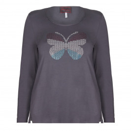 SEMPRE PIU BUTTERFLY MOTIF STUDDED TOP  - Plus Size Collection