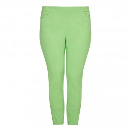 SEMPRE PIU lime green cropped TROUSERS - Plus Size Collection