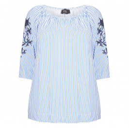 BEIGE LABEL BLUE VERTICAL STRIPE TOP WITH EMBROIDERY  - Plus Size Collection